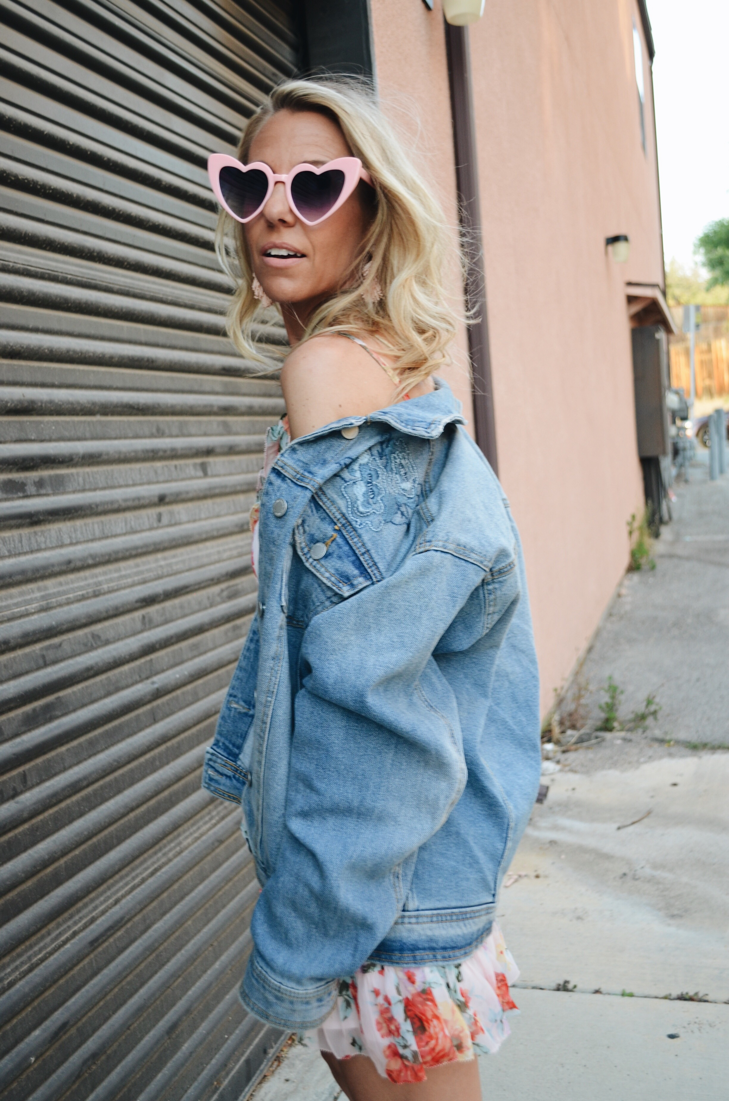 DENIM BOYFRIEND JACKET- Jaclyn De Leon Style + oversized jean jacket + target style + heart sunglasses + pink floral dress + Universal Thread + spring style + casual street style + mom style +embroidered denim