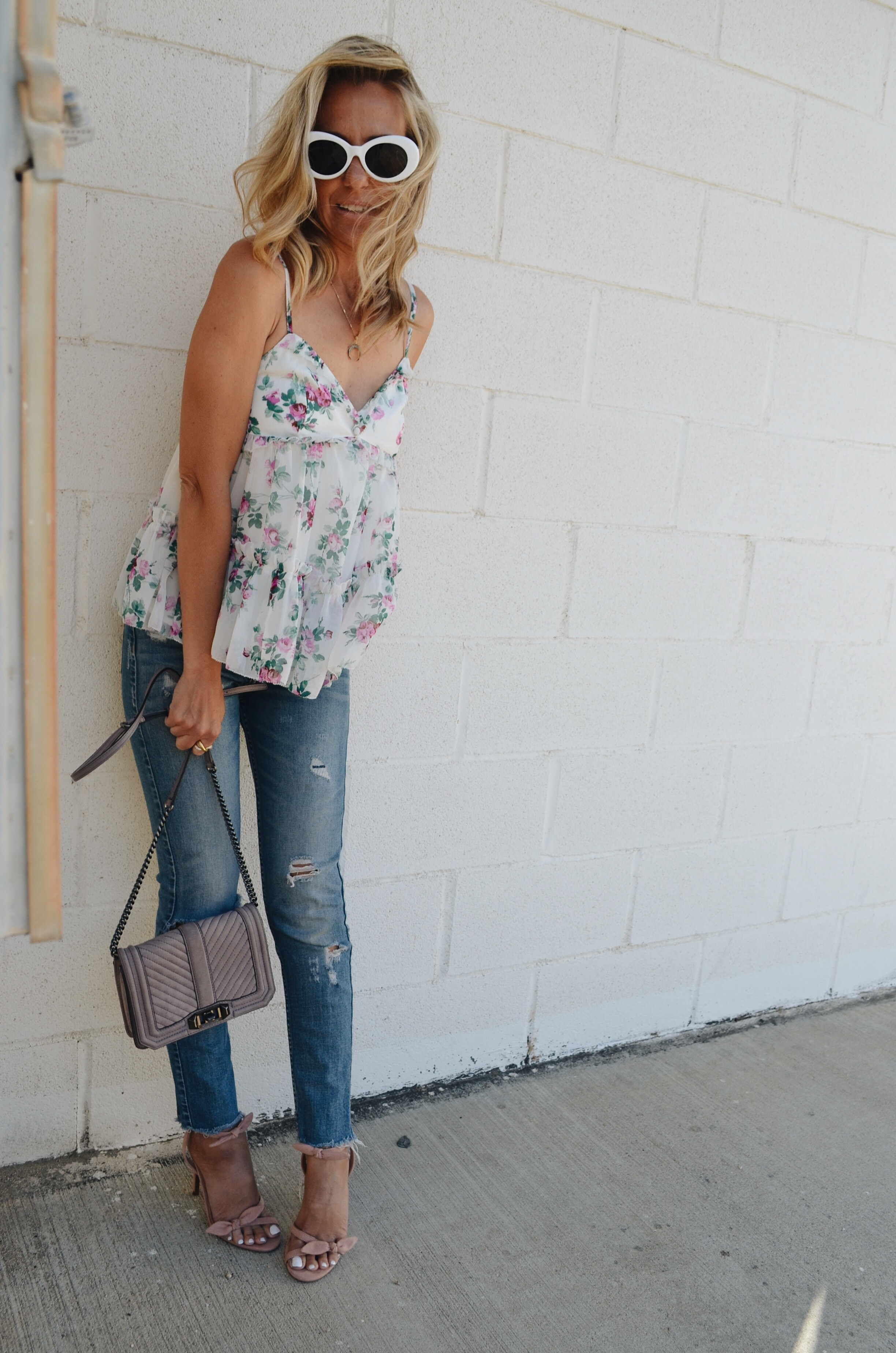 HOW TO DRESS UP DISTRESSED DENIM- Jaclyn De Leon Style + FLORAL RUFFLE TOP + A&F + DESTROYED JEANS +PINK HEELS + TARGET STYLE + SUMMER NIGHT OUTFIT + STREET STYLE + REBECCA MINKOFF HANDBAG + RETRO STYLE SUNGLASSES