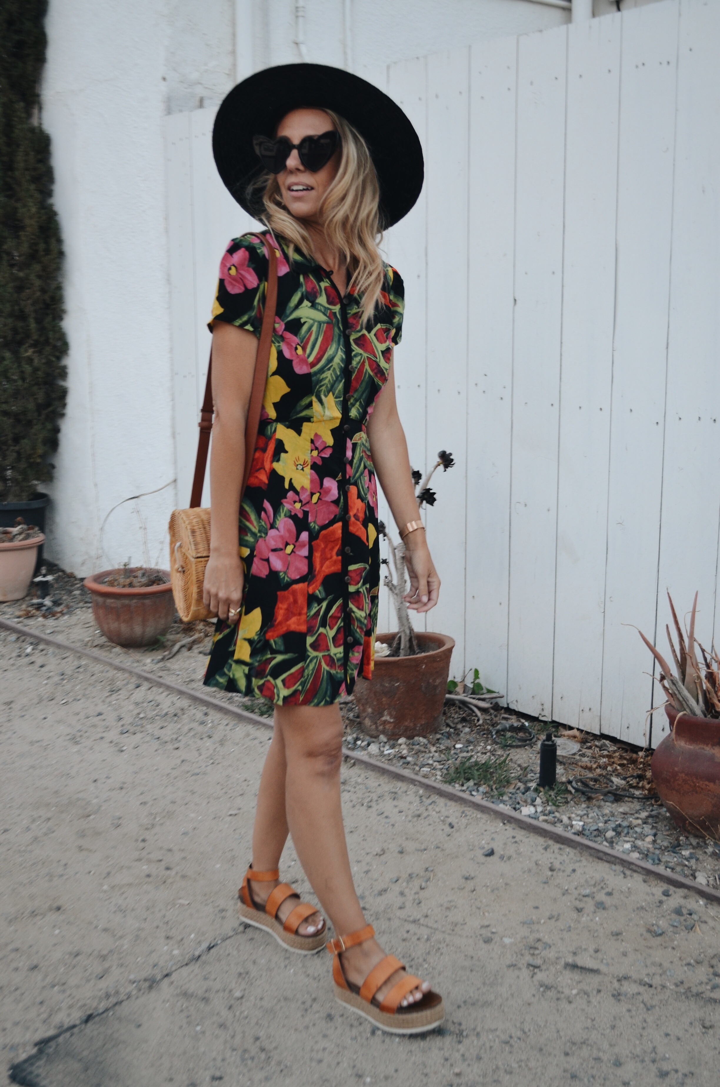 THE MUST HAVE SHOE TREND- PLATFORMS- Jaclyn De Leon Style + espadrille sandals + floral dress + straw handbag + black straw hat + casual street style + DSW