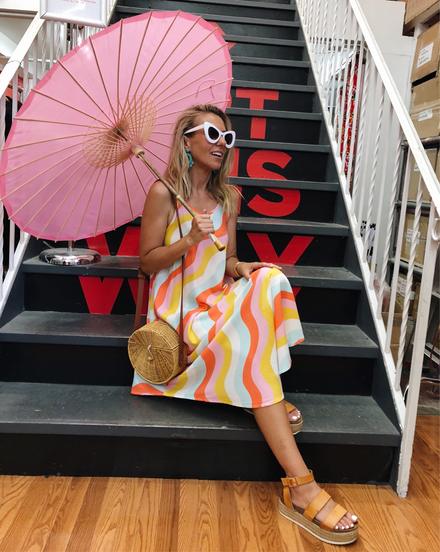 ADVENTURES IN NEW YORK- Jaclyn De Leon Style + retro style maxi dress + target style + straw crossbody handbag + platform sandals + white retro sunglasses + striped dress + casual summer style + NY street style