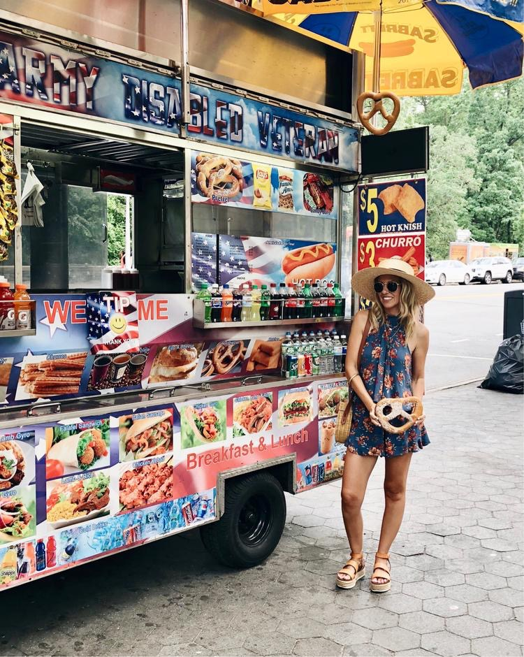 ADVENTURES IN NEW YORK- Jaclyn De Leon Style + floral matching set + target style + straw boater hat + espadrille platform sandals + NY sightseeing + food truck + pretzel + what to do in NY + casual travel style + summer outfit
