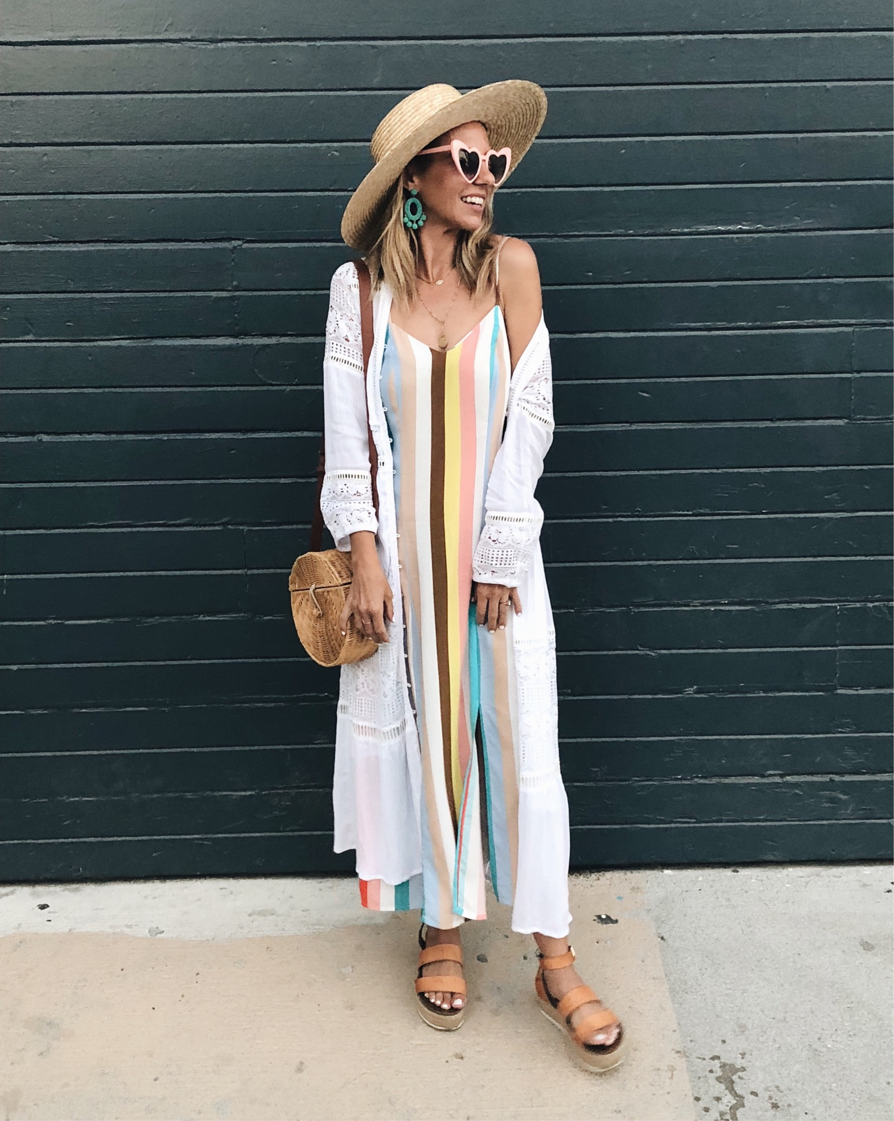MUST HAVE SUMMER MAXI DRESSES- Jaclyn De Leon Style + striped maxi dress + boho chic + bohemian summer stye + straw hat + retro heart sunglasses + Target Style + casual beach style + street style + Goodnight Macaroon + white lace kimono + platform sandals