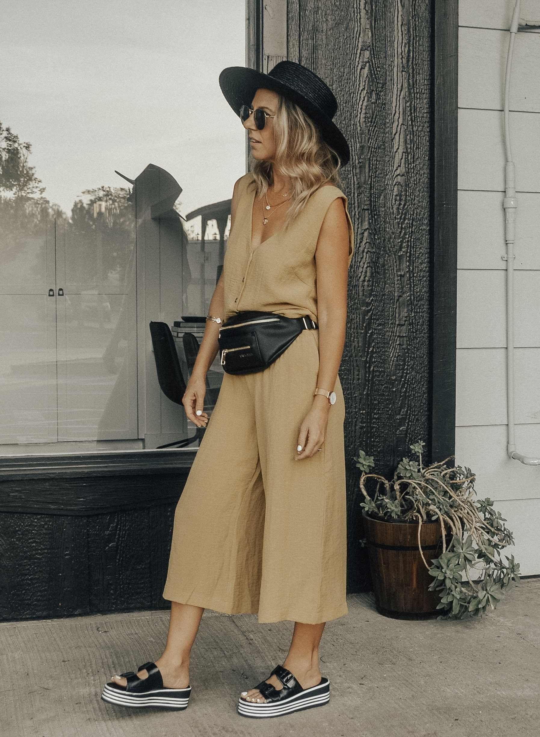 THE FANNY PACK IS BACK + 2 WAYS TO STYLE IT- Jaclyn De Leon Style + FAWN DESIGN FAWNY PACK + CASUAL STREET STYLE + MOM STYLE + BELT BAG + SUMMER OUTFIT + FALL STYLE + HOW TO STYLE A FANNY PACK + 90'S STYLE + RETRO LOOK + EDGY STREET STYLE LOOK +BLACK AND WHITE EMBROIDERED TOP + WHITE CULOTTES + YELLOW JUMPSUIT