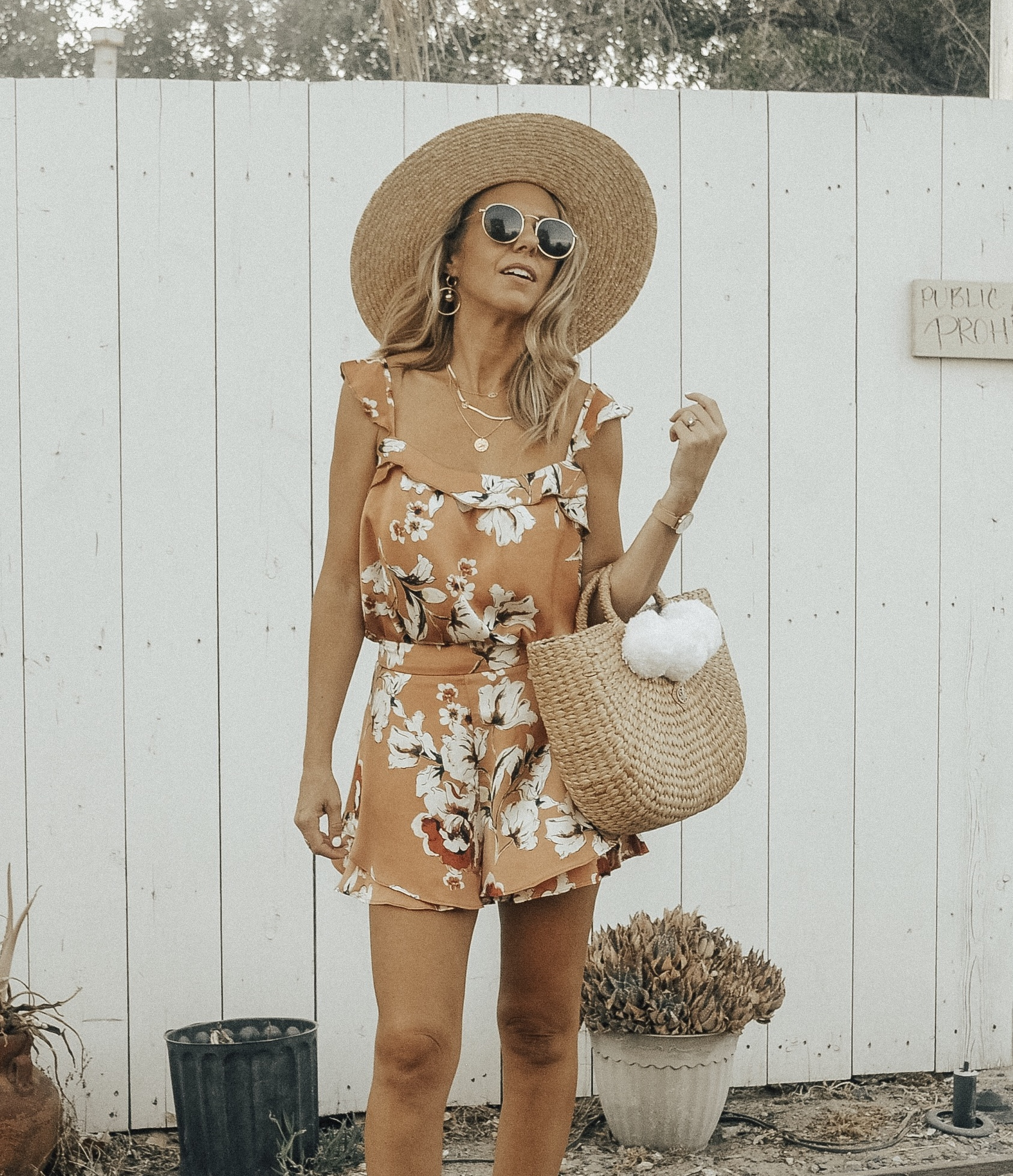 MATCHING SETS WITH BISHOP + YOUNG - Jaclyn De Leon Style + floral ruffle shorts + floral tank top + bohemian + straw bag with pom poms + straw beach hat + summer style + casual street style + boho chic + Nordstrom + Zappos + Versatility of matching sets + mix and match