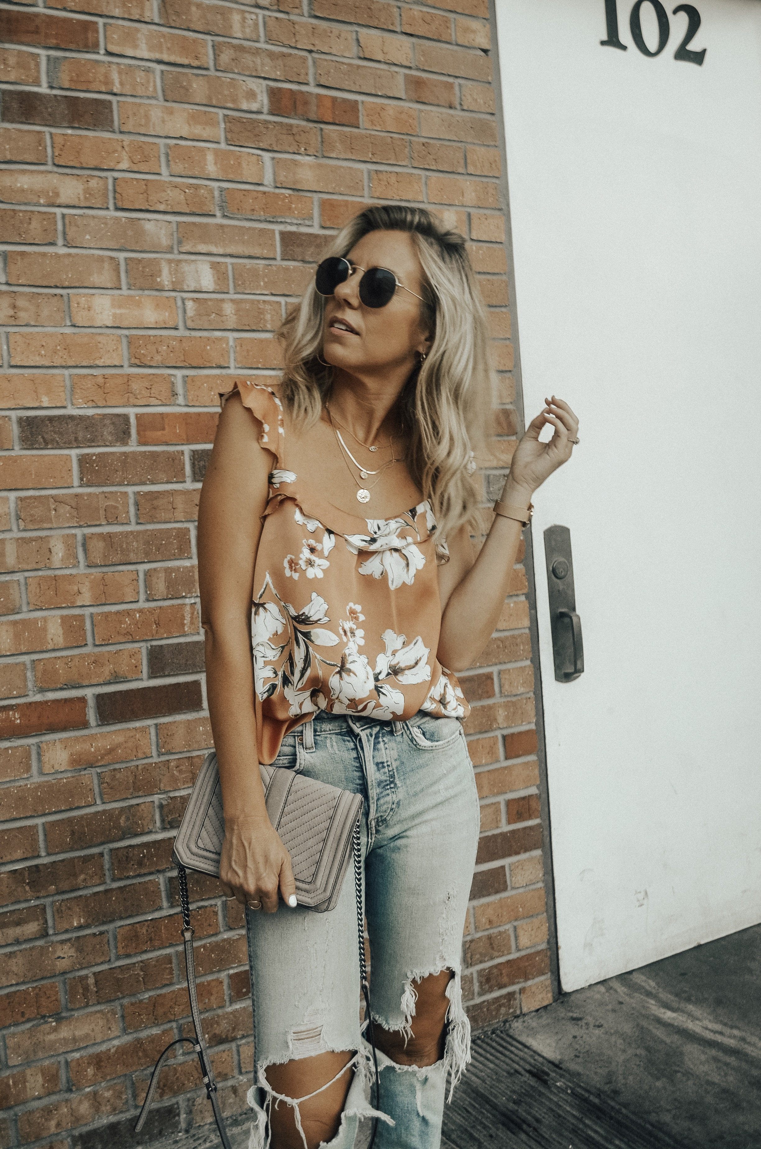 MATCHING SETS WITH BISHOP + YOUNG - Jaclyn De Leon Style + floral tank top + distressed denim + bohemian + Rebecca Minkoff handbag + fall outfit + summer style + casual street style + boho chic + Nordstrom + Zappos + Versatility of matching sets + mix and match + snakeskin studded mules