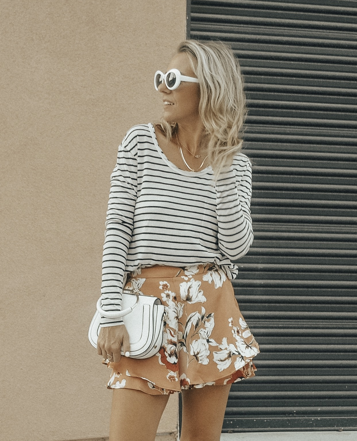 MATCHING SETS WITH BISHOP + YOUNG - Jaclyn De Leon Style + floral ruffle shorts + striped pocket tee + bohemian + gray block heel booties + fall outfit + summer style + casual street style + boho chic + Nordstrom + Zappos + Versatility of matching sets + mix and match