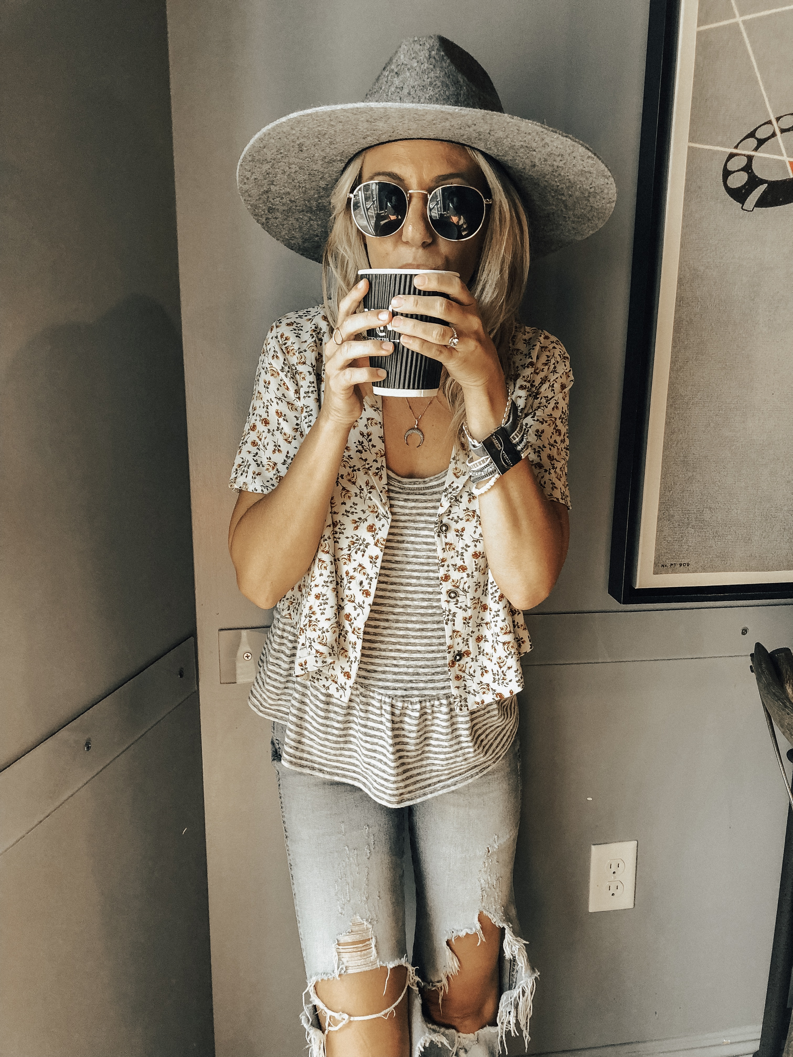 BOHO BRACELETS + VICTORIA EMERSON- Jaclyn De Leon Style + bohemian style + bracelet stack + jewelry trends + how to style accessories + summer outfit + fall style + mom style + grey fedora hat + coffee shop + stying tips + distressed denim + peplum top + floral button up