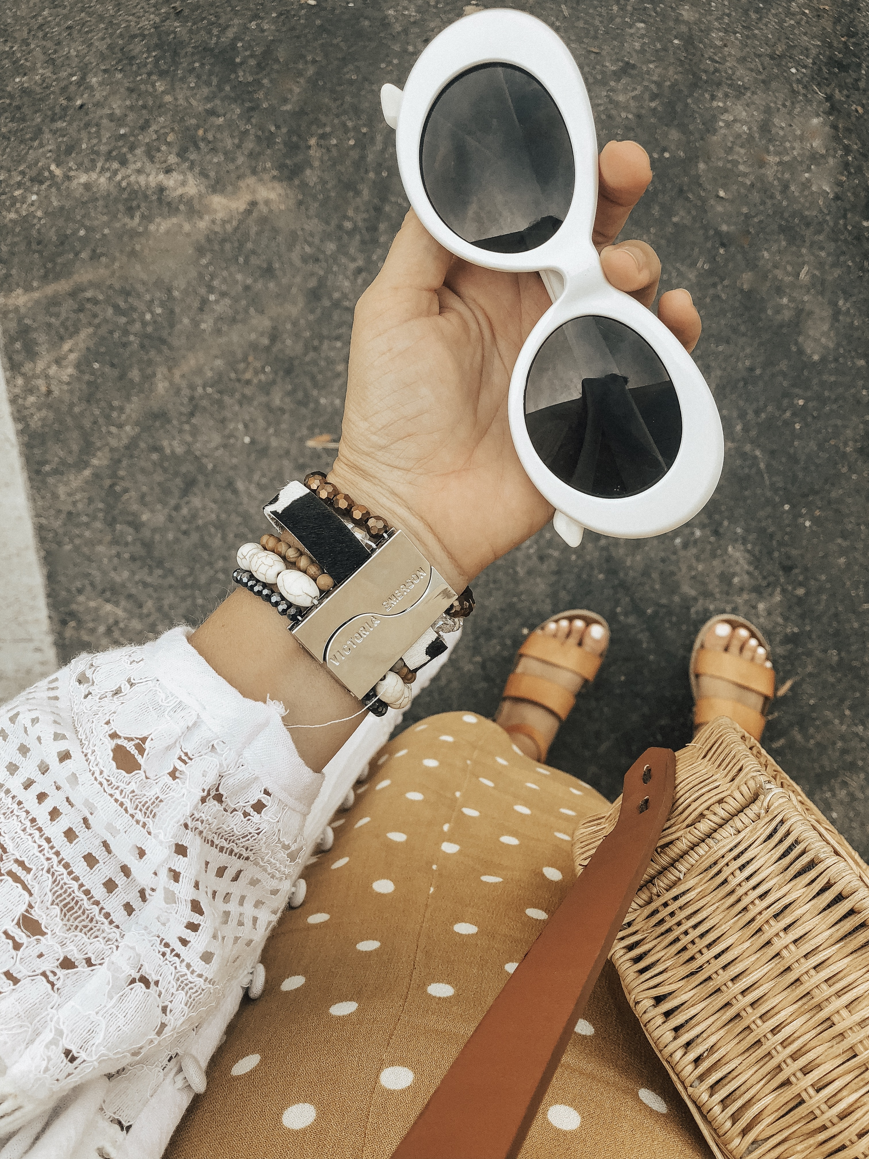 BOHO BRACELETS + VICTORIA EMERSON- Jaclyn De Leon Style + bohemian style + bracelet stack + jewelry trends + how to style accessories + summer outfit + fall style + mom style + polka dot romper + white kimono + stying tips + statement bracelets