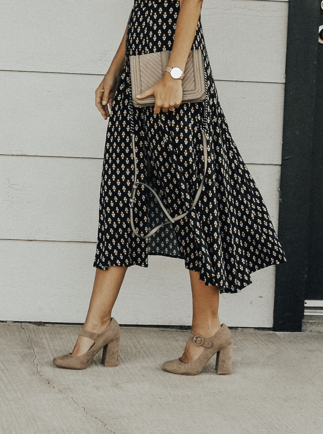 MARY JANE'S ARE BACK + RESTRICTED SHOES- Jaclyn De Leon Style + fall shoe trends + what to wear this season + boho floral midi dress + fall shoe edit + mom style + styling the mary jane shoe + block heel + rebecca minkoff handbag + retro style + 90's fashion