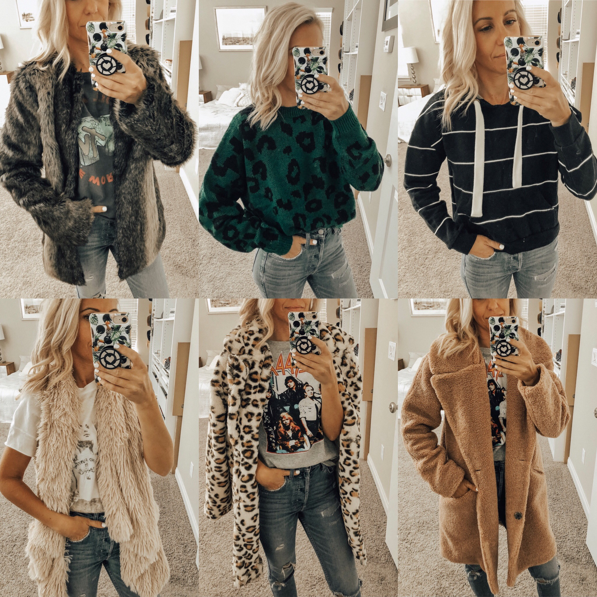NORDSTROM RACK FINDS- Jaclyn De Leon Style + faux fur jacket + fall fashion + shopping tips + cozy casual outerwear + winter coats + try-on session + striped sweatshirt + soft faux fur vest + selfie + outfit inspiration + mom style + leopard