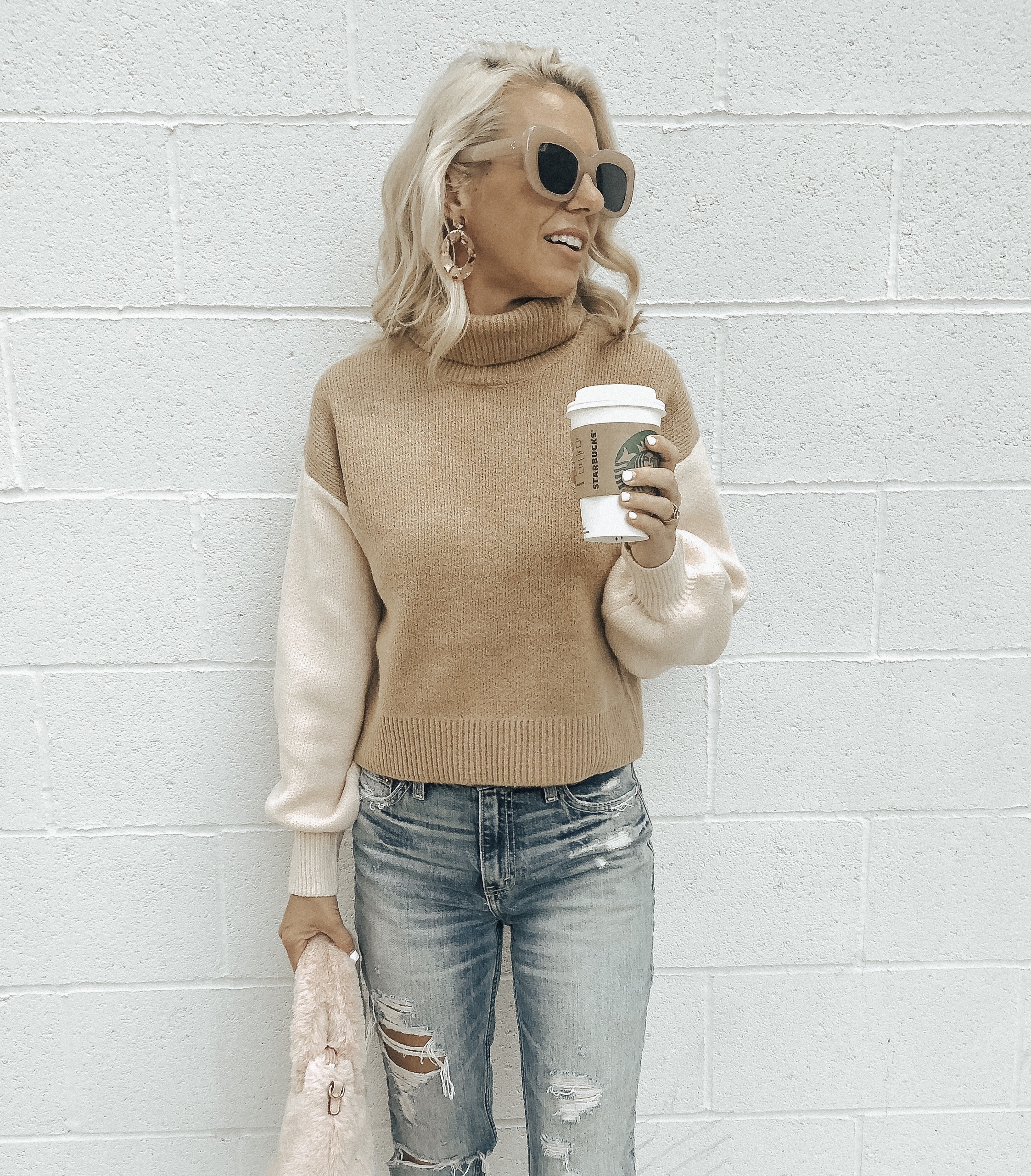 COZY SWEATERS UNDER $35- Jaclyn De Leon Style + casual sweater + chevron print + fall fashion + #sweaterweather + affordable fashion + winter style + casual street style + denim + mom style + color block + faux fur handbag + retro style + oversized sunglasses + forever 21 + mommy and me + kid style