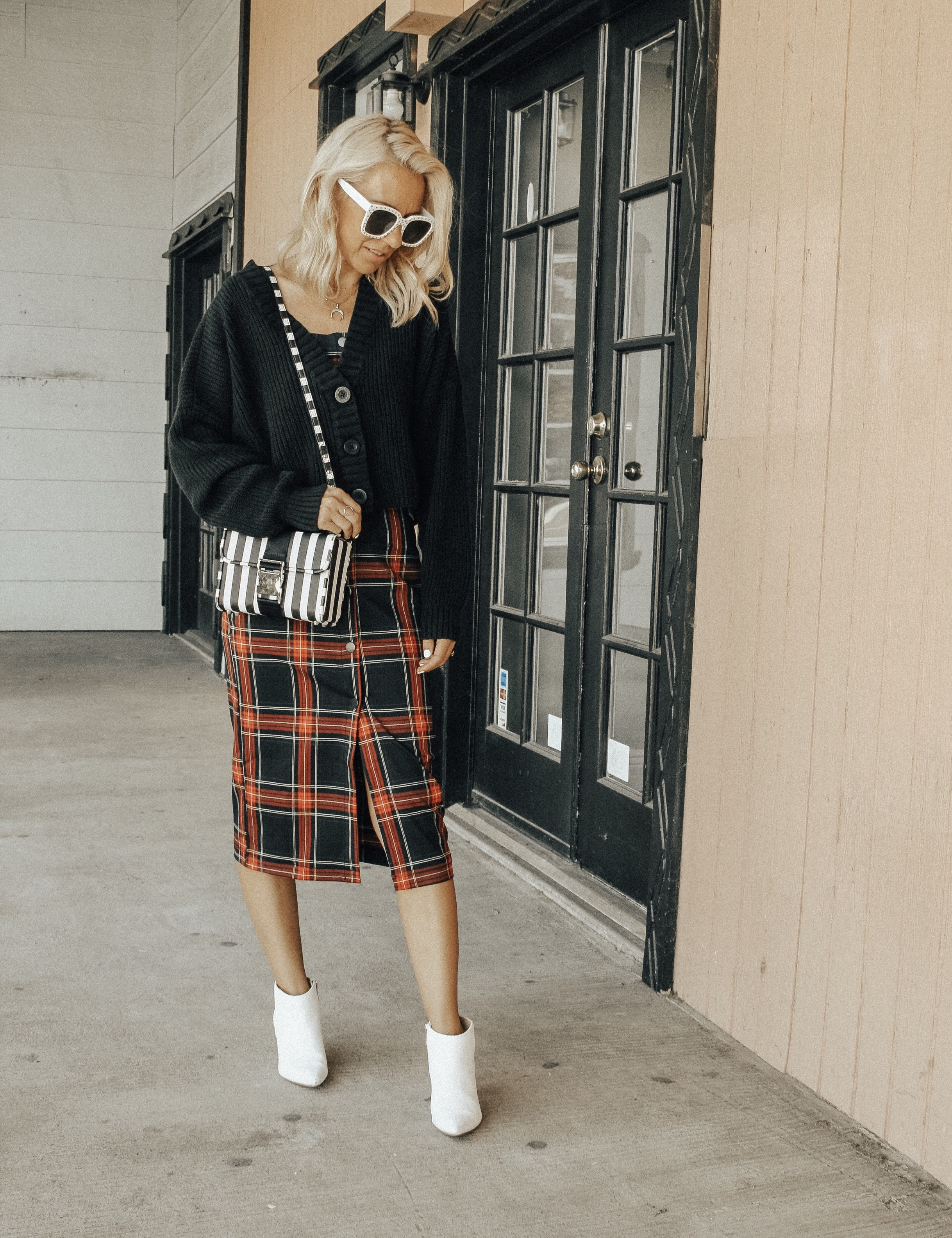 MAD FOR PLAID- Jaclyn De Leon Style + fall fashion + plaid dress + street style + style inspo + cozy sweater cardigan + white boots + striped handbag + 90's fashion + retro style + mom style + asos