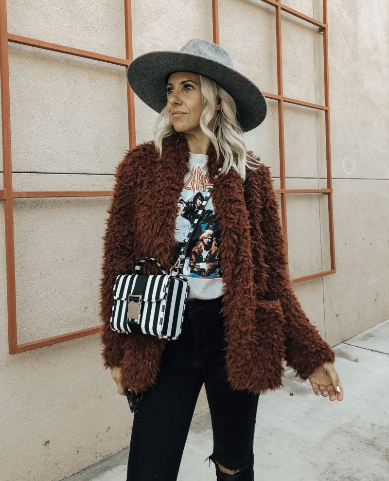 NORDSTROM RACK FINDS- Jaclyn De Leon Style + faux fur jacket + fall fashion + shopping tips + cozy casual outerwear + winter coats + street style + gray wide brim hat + band tee + striped handbag + outfit inspiration + mom style