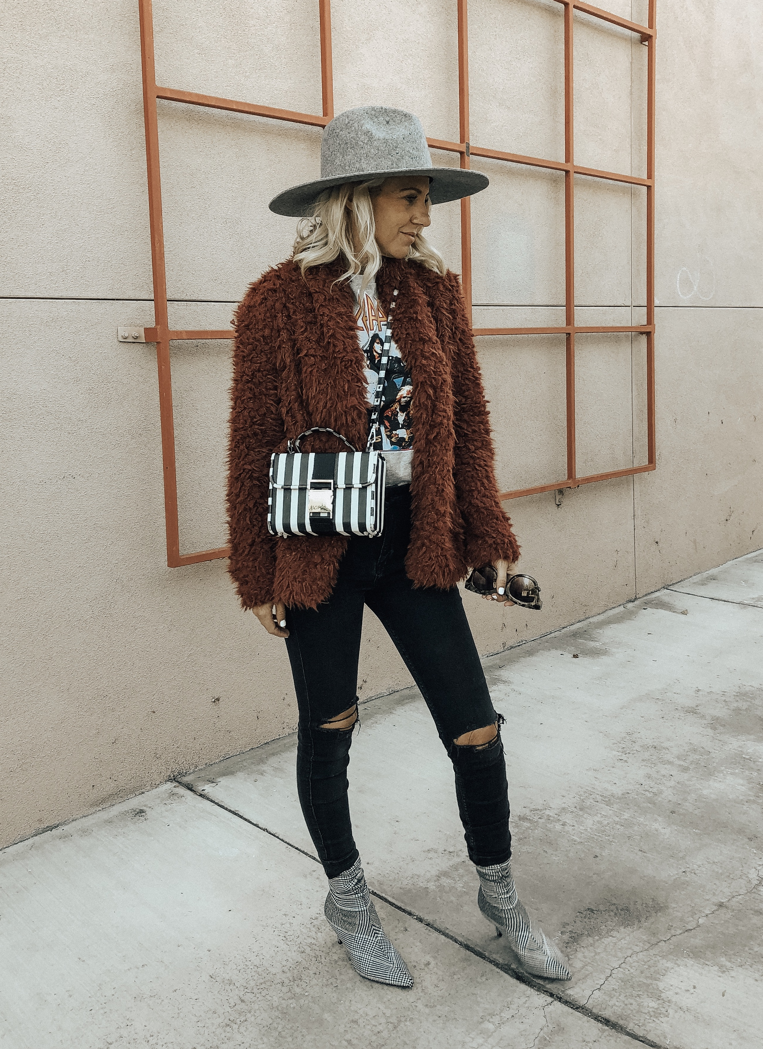 MAD FOR PLAID- Jaclyn De Leon Style + fall fashion + faux fur jacket + street style + style inspo + led zeplin band tee + plaid sock booties + winter casual style + 90's fashion + retro style + mom style + nordstrom rack + affordable fashion + distressed skinny jeans + striped handbag + fedora hat