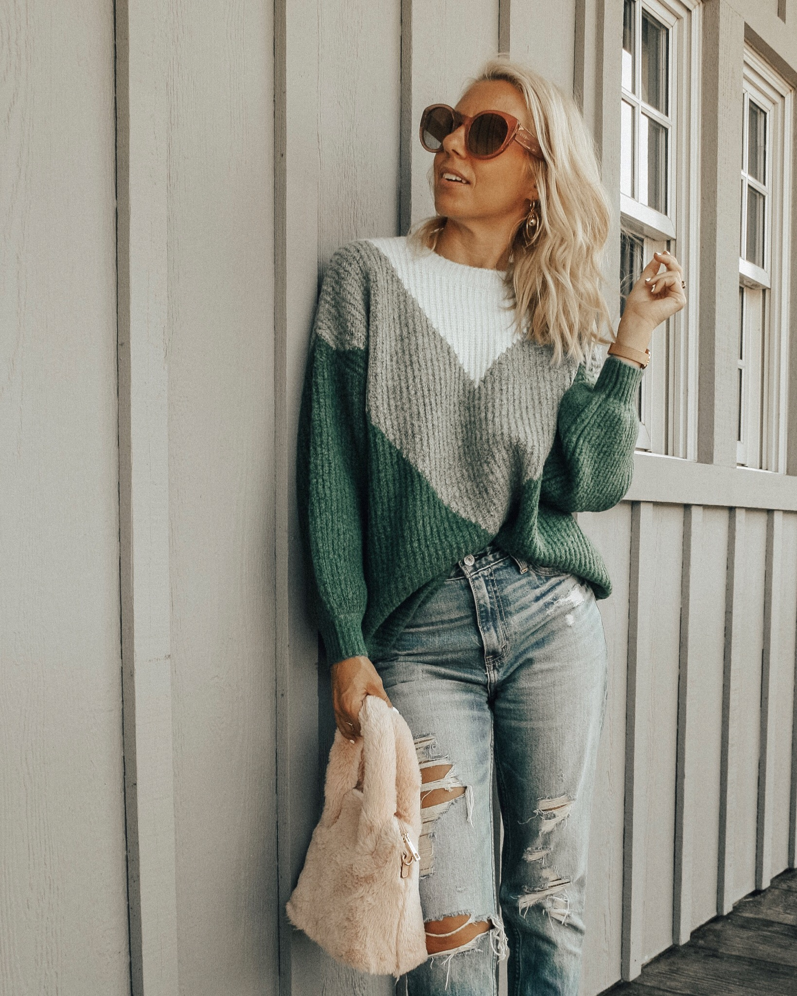 COZY SWEATERS UNDER $35- Jaclyn De Leon Style + casual sweater + chevron print + fall fashion + #sweaterweather + affordable fashion + winter style + casual street style + denim + mom style + stripes + faux fur handbag + retro style + oversized sunglasses + forever 21