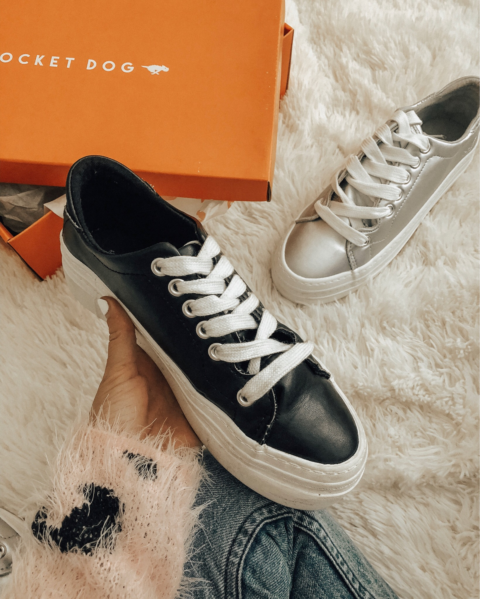 ROCKET DOG PLATFORM SNEAKERS- Jaclyn De Leon Style + metallic silver platform shoes + distressed denim + striped sweater + target style + retro style + fall outfit inspo + mom style + mommy and me style + styling sneakers + floral dress + how to style sneakers