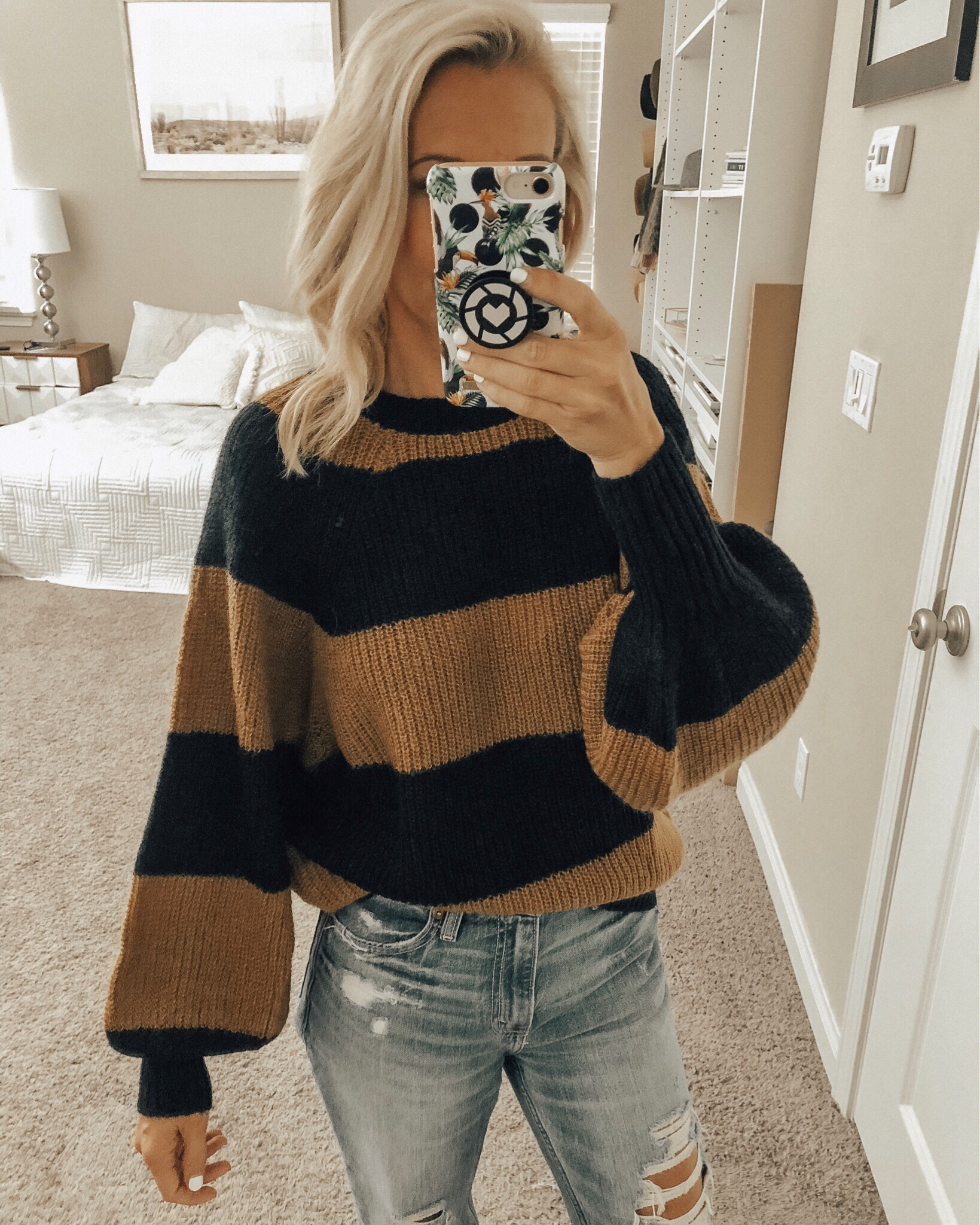 NOVEMBER TOP 10- Jaclyn De Leon Style + casual winter sweater + striped cozy top with balloon sleeves + selfie + try-on session with Target + affordable fashion + fall outfit + top selling items
