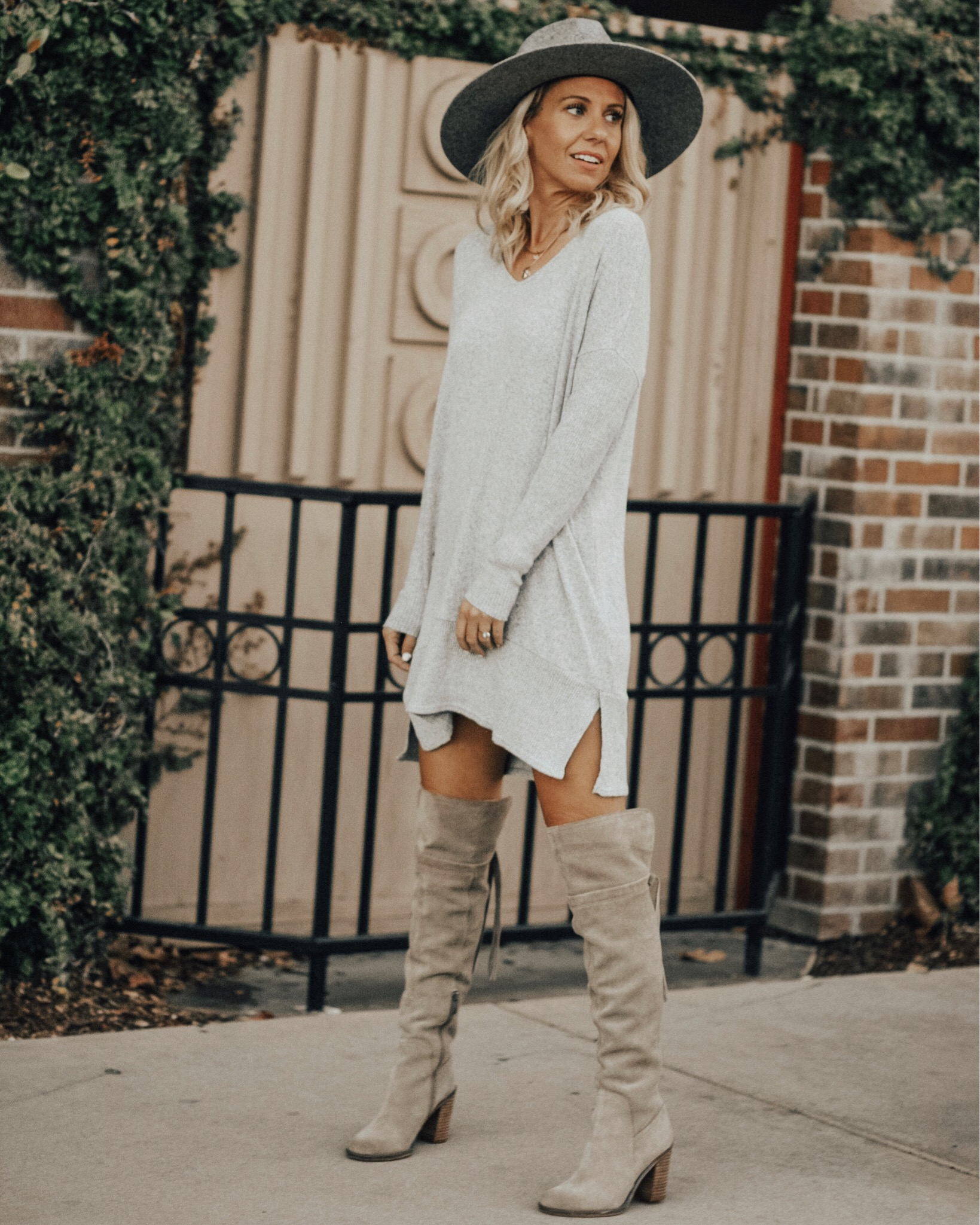 NOVEMBER TOP 10- Jaclyn De Leon Style + top selling items + sweater dress + winter style + street style + outfit inspiration + bohemian look + how to style over the knee boots + taupe high boots