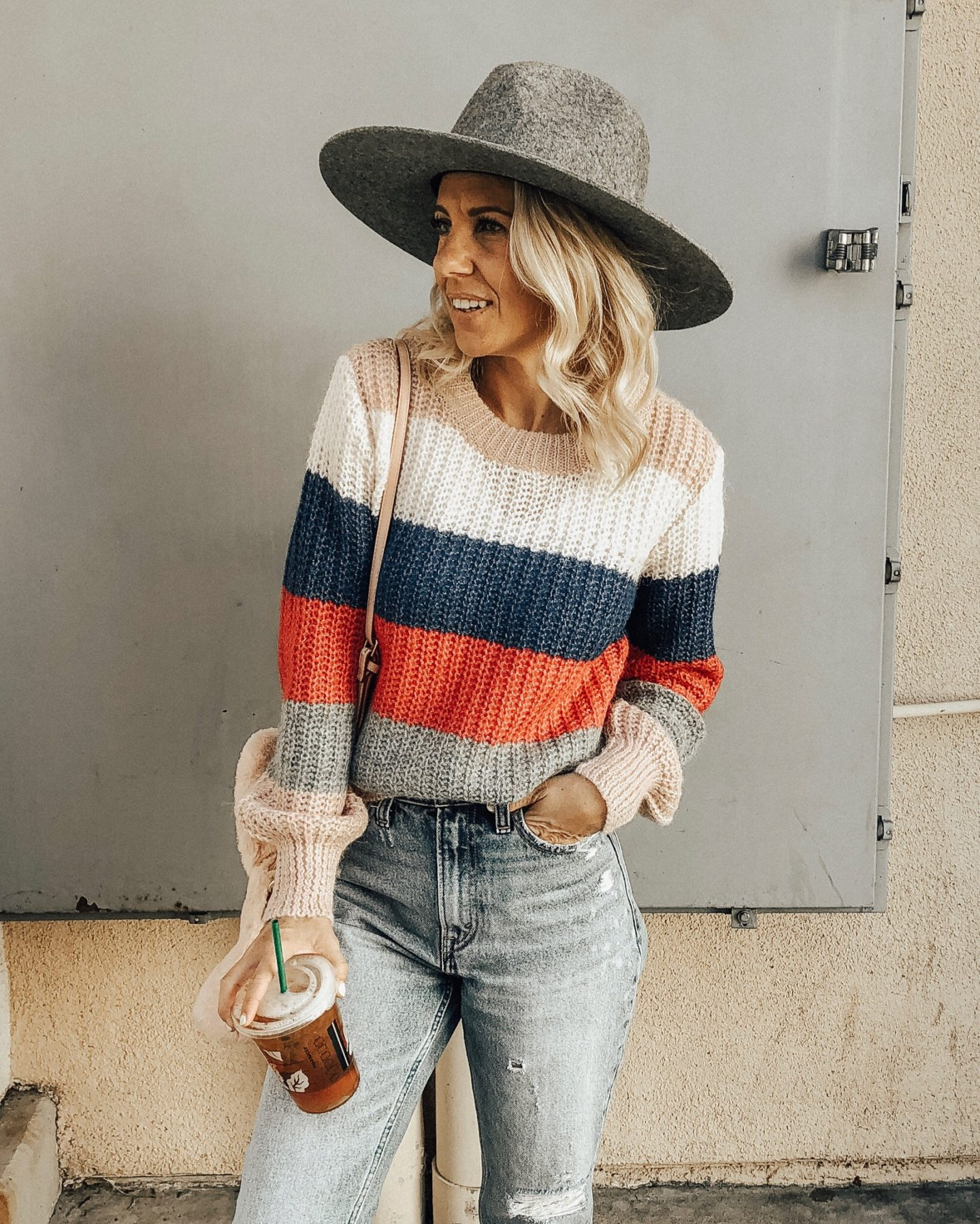 NOVEMBER TOP 10- Jaclyn De Leon Style + striped sweater + mom jeans + faux fur handbag + abercrombie + sweater weather + casual style + fedora hat + fall style + blonde hair