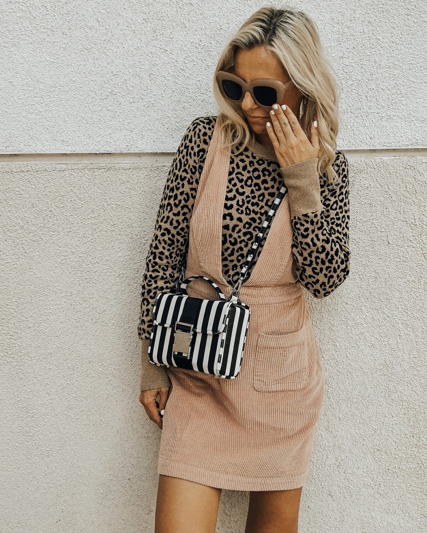 NOVEMBER TOP 10- Jaclyn De Leon Style- Leopard sweater + skirtall + striped handbag + sweater weather + fall fashion + retro sunglasses + what to wear this season + target style + casual style