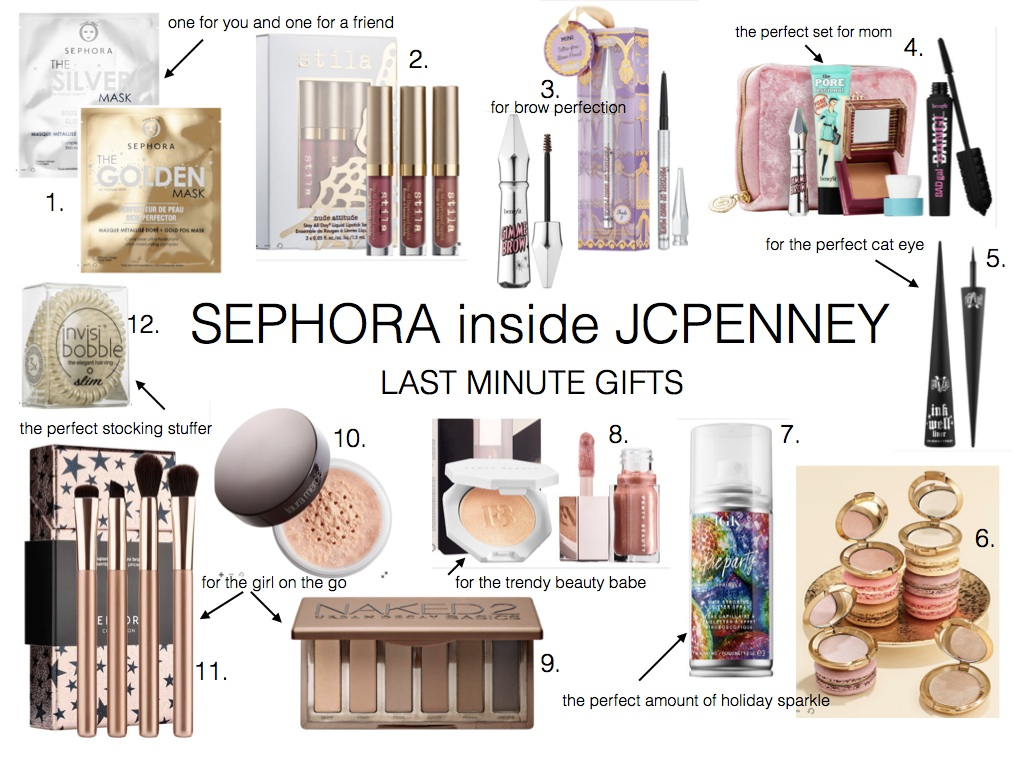LAST MINUTE GIFTS- SEPHORA INSIDE JCPENNEY- Jaclyn De Leon Style + holiday gift guide + xmas shopping + beauty lover + sephora collection + stocking stuffers + holiday shopping + what to buy for the beauty babe + haircare + skin care + make up gifts + online shopping