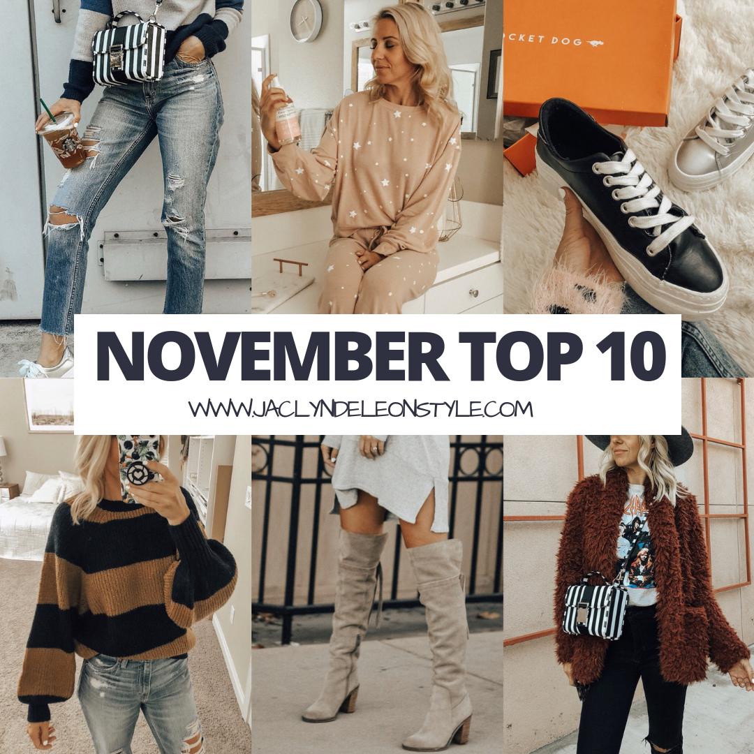 NOVEMBER TOP 10-Jaclyn De Leon Style + top selling items + mom jeans + striped sweater + platform sneakers + luxe star print lounge set + faux fur jacket + otk boots