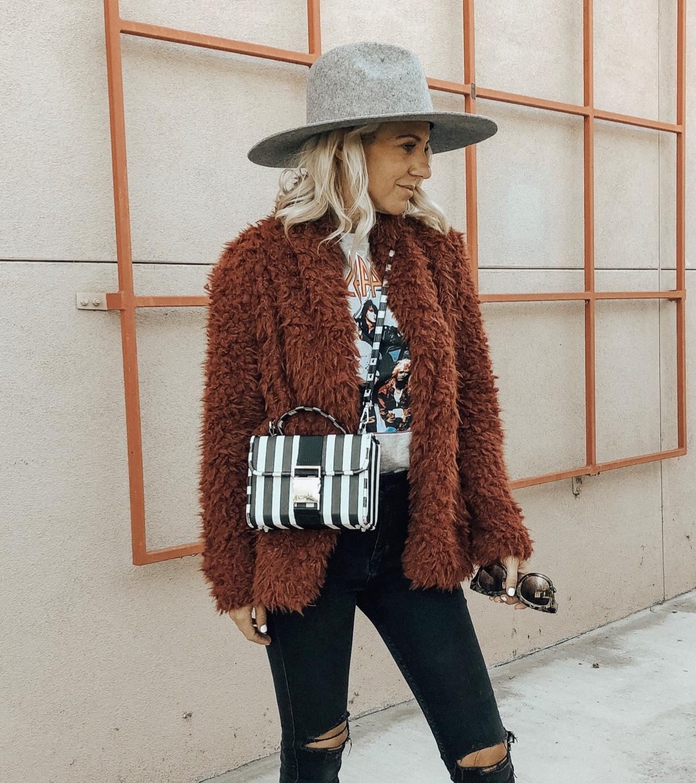 DECEMBER TOP 10- Jaclyn De Leon Style + cozy faux fur jacket + striped handbag + winter style + band tee + belk + nordstrom style + casual street style + cozy winter layers