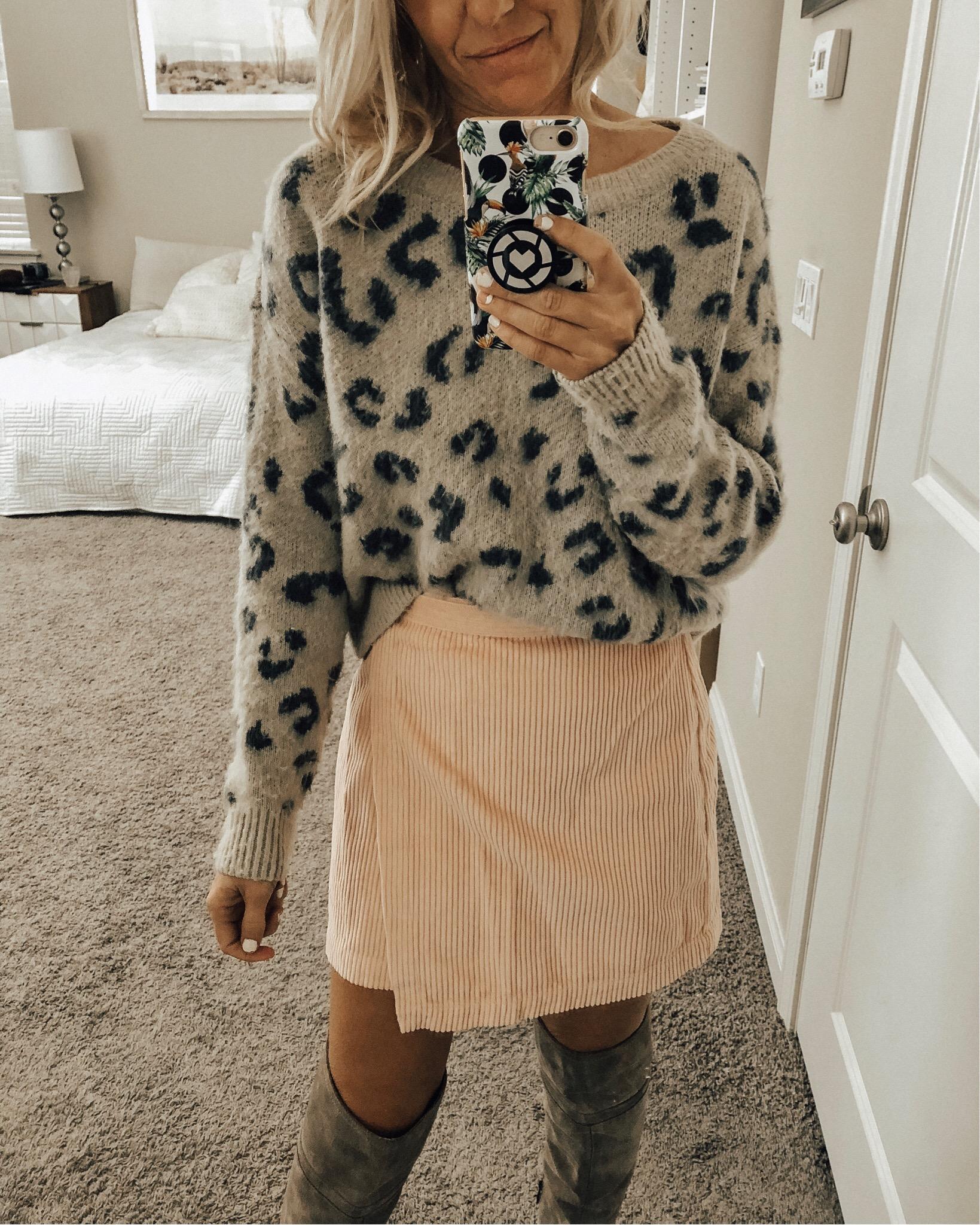 DECEMBER TOP 10- Jaclyn De Leon Style + leopard cozy sweater + pink skirt + animal print + sweater weather + selfie + winter style + otk boots + abercrombie