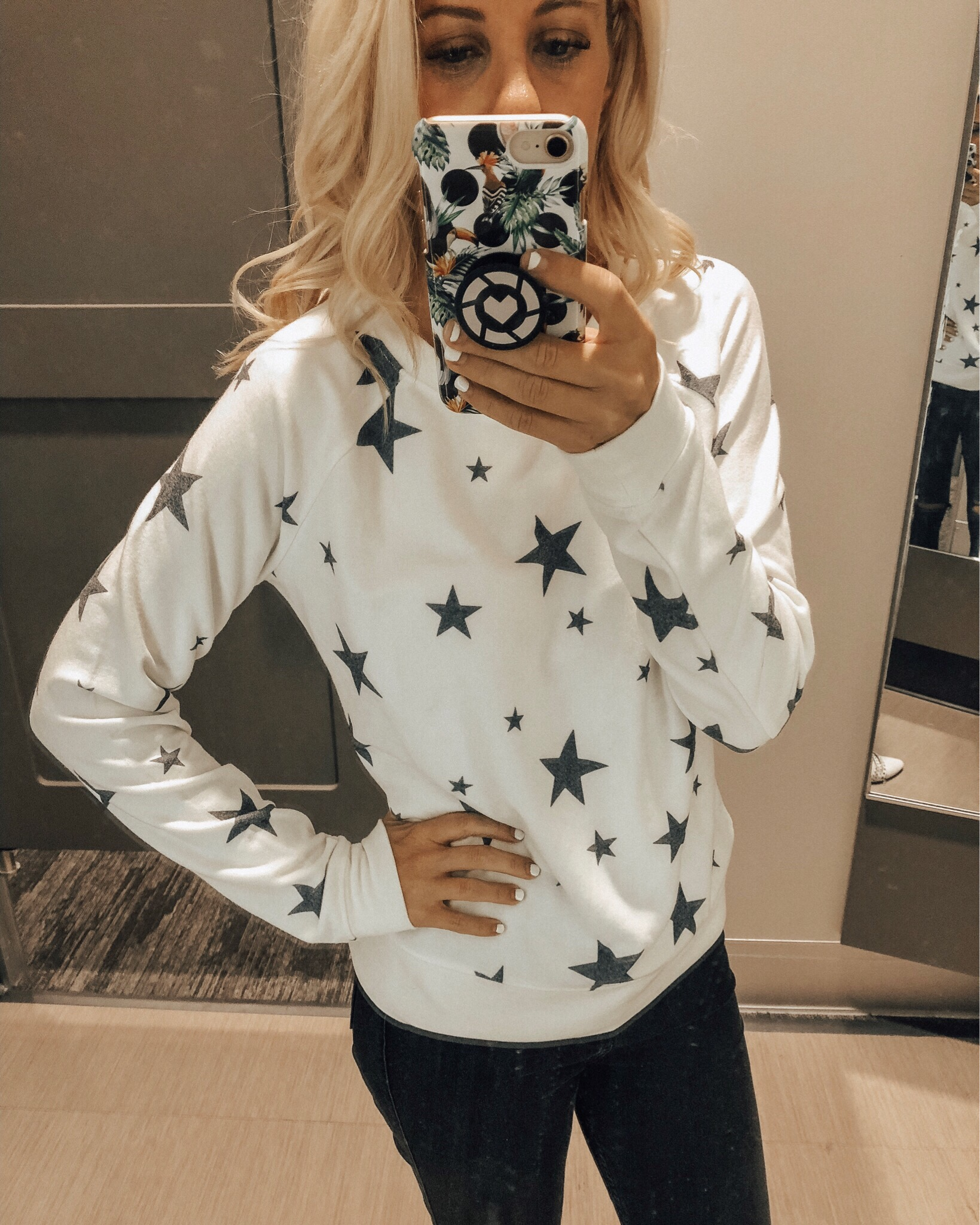 DECEMBER TOP 10- Jaclyn De Leon Style + top selling items for the month + star print sweatshirt + cozy casual style + target style + mom style + winter outfit + lounge set + fleece top