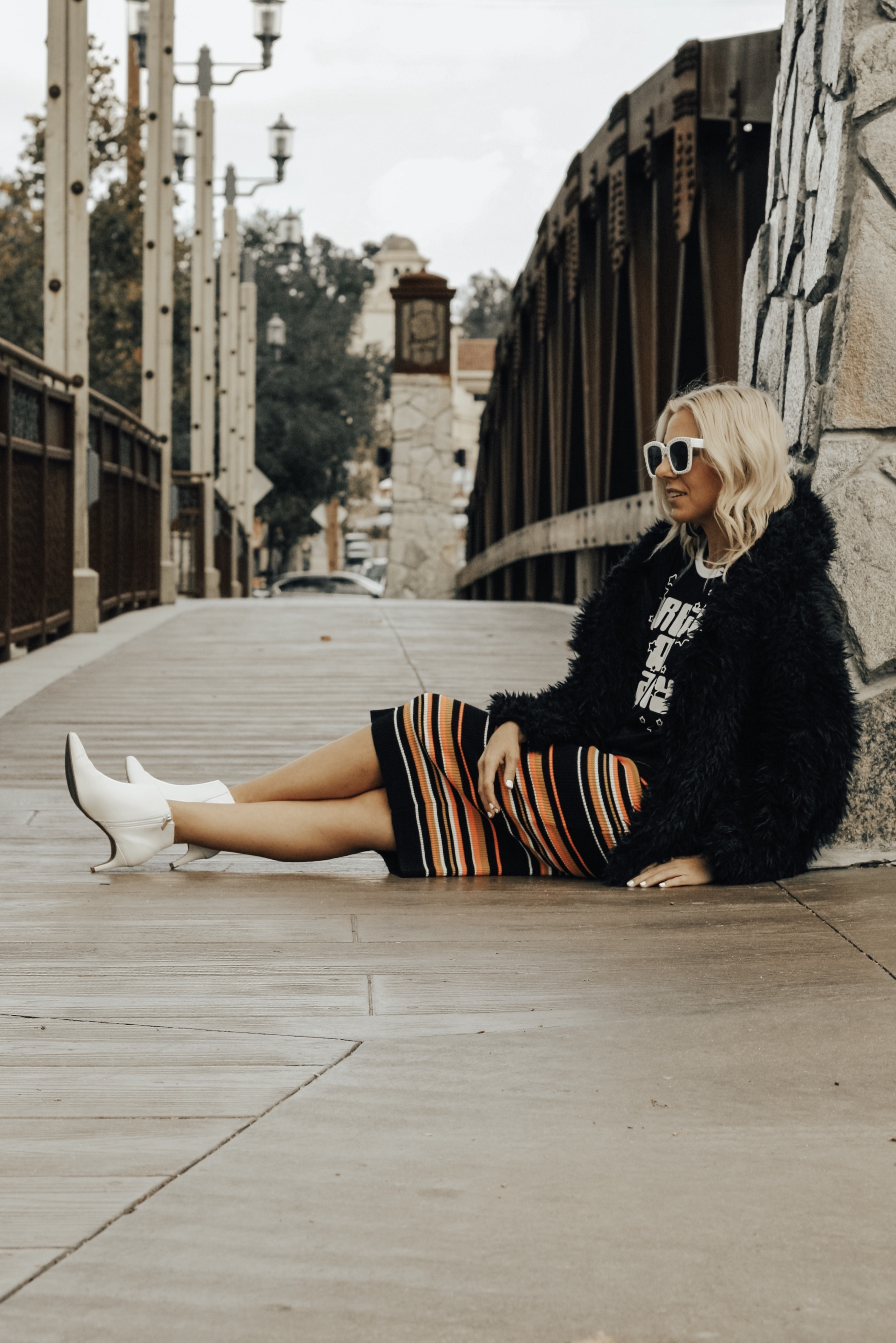 DREAM ON BABY...MY GOALS FOR 2019- Jaclyn De Leon Style + graphic tee + faux fur jacket + striped midi skirt + white boots + retro 70's style + winter style + casual street style look + what to wear in 2019