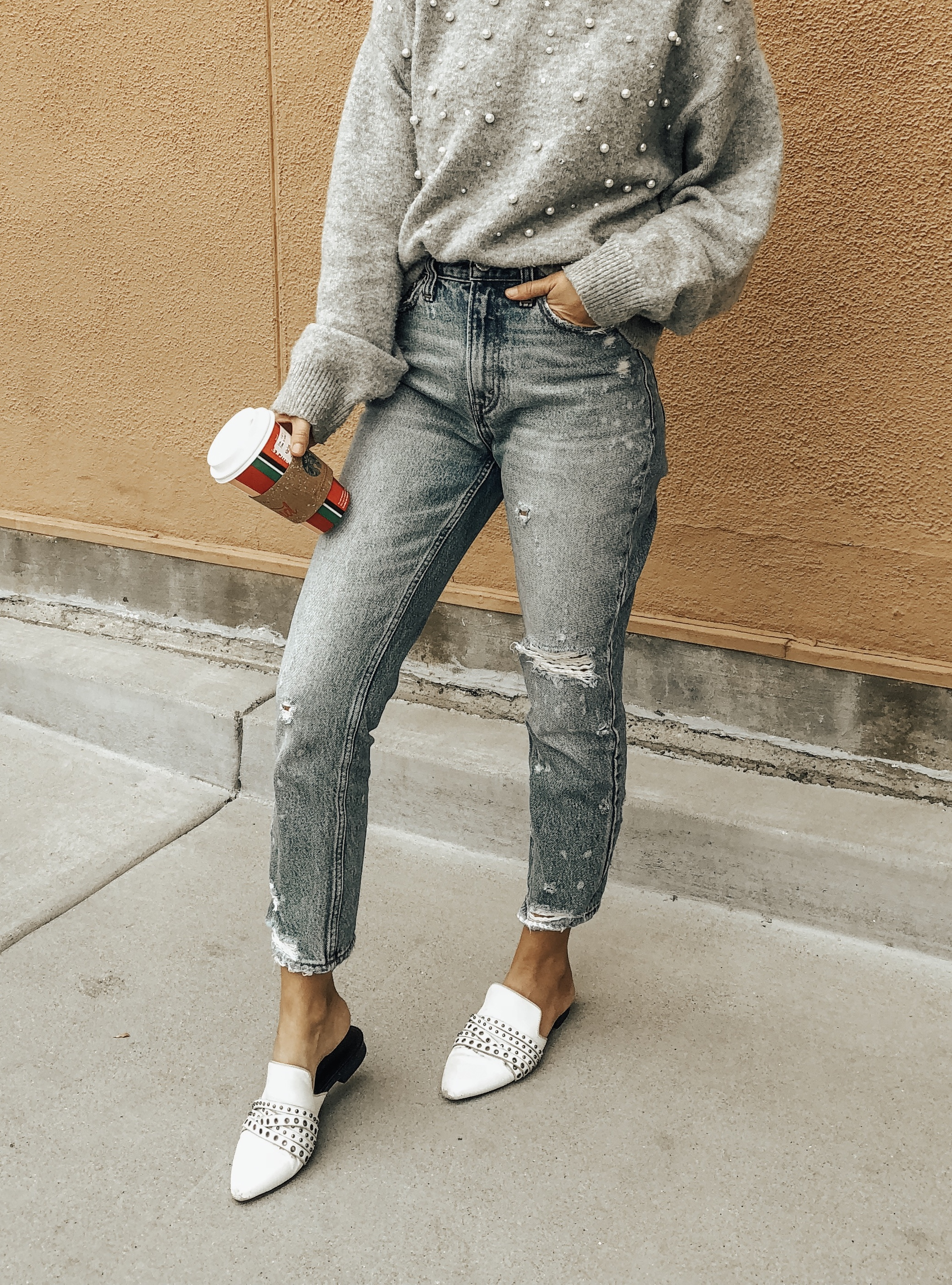 DECEMBER TOP 10- Jaclyn De Leon Style + high rise mom jeans + embellished sweater + white mules + abercrombie jeans + nordstrom mules + casual winter style + sweater weather + mom style