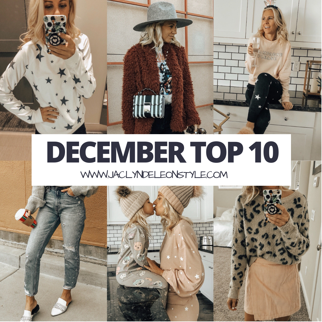 DECEMBER TOP 10- Jaclyn De Leon Style + top selling items in december + holiday shopping + star print + high rise mom jeans + cozy faux fur jacket + star joggers + leopard sweater + winter style + gift giving + target finds + abercrombie
