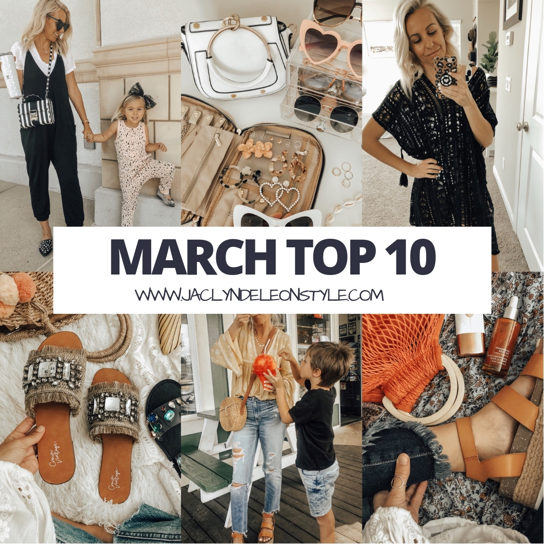 MARCH TOP 10- Jaclyn De Leon Style + My top ten selling items from the month of March are everything from the coziest jumpsuit, jewelry travel case, swim suit cover up, espadrilles and so much more. And of course most of them were from Target and Amazon!